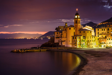 Fototapete - Church on the Beach in Camogli near Genoa, Liguria,  Italy
