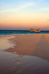 Sailboat in clear sky along Maldive coast