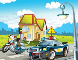 Wall Murals Cars The police car officers - illustration for the children