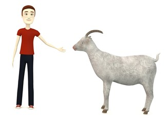 3d render of cartoon character with goat