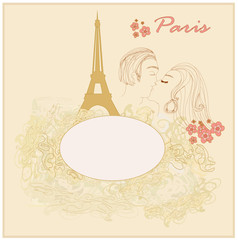 Papiers peints Doodle Romantic couple in Paris kissing near the Eiffel Tower