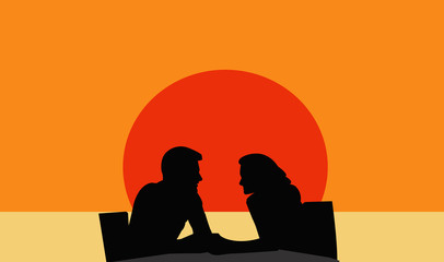Silhouetted of young couple in love
