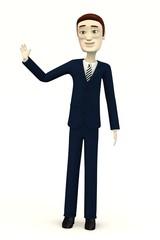 cartoon businessman - palm up