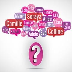 nuage de mots bulles deviner : prénoms de filles