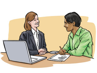Woman interviewing young man