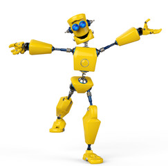 Foto auf Acrylglas Roboter yellow robot is happy