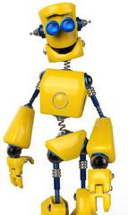 Spoed Foto op Canvas Robots yellow robot walking close up