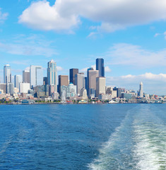 Seattle waterfront Pier 55 and 54. Downtown view from ferry.