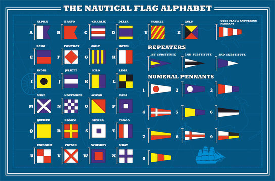 International maritime signal flags - sea alphabet , vector
