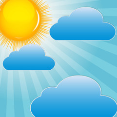 Stores à enrouleur Ciel Cloud and sunny background vector illustration