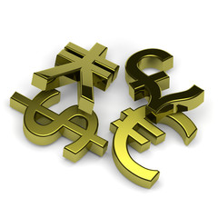 Currency symbols set on white