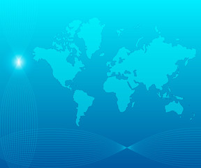 Poster Carte du monde Blue world background