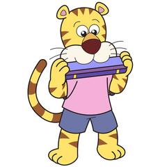Cartoon Tiger Playing a Harmonica