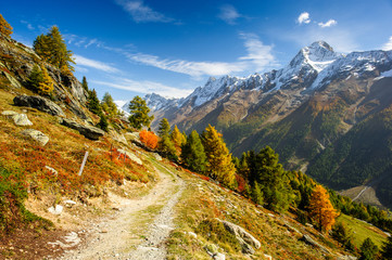 Bietschorn mountain peak in autumn with hiking trail