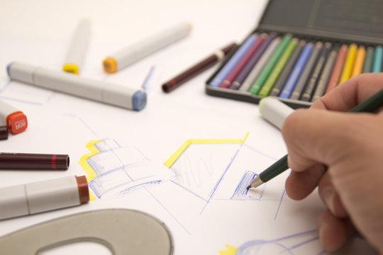 Designer zeichnet