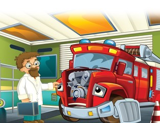 The red firetruck - duty - illustration for the children