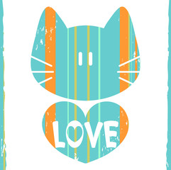 Cat with a heart romantic illustration