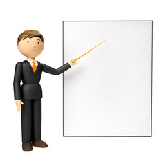 3d man holding blank board and pointing finger at it over white