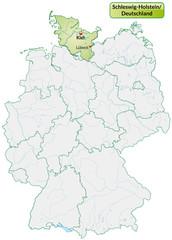 Landkarte von Deutschland und Schleswig-Holstein