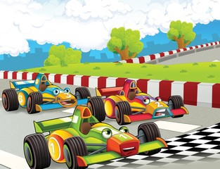 Recess Fitting Cars The formula race - super car - illustration for the children