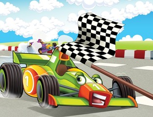 Printed roller blinds Cars The formula race - super car - illustration for the children