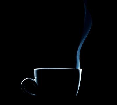beleuchteter umriss einer dampfenden tasse kaffee oder tee