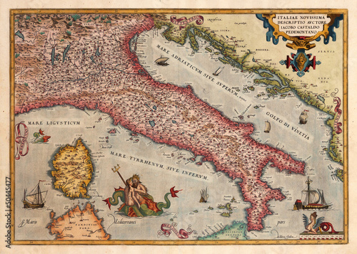 Wall mural Italy old map