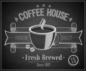 Wall Mural - Coffee House card - Chalkboard. Vector illustration.
