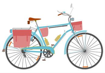 Fototapeta Klasyczny rower turystyczny z torbami na białym tle. obraz
