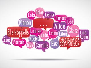 nuage de mots bulles modifiable : prénoms de filles
