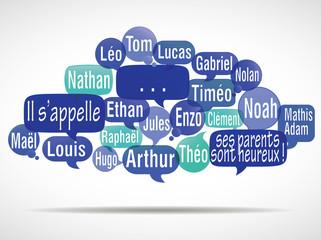 nuage de mots bulles modifiable : prénoms de garçons