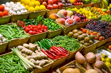 Fruit market with various colorful fresh fruits and vegetables - fototapety na wymiar