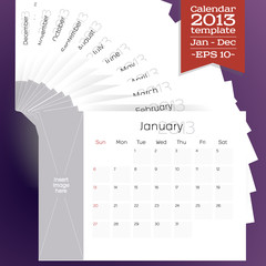 Template of all the months of a calendar 2013