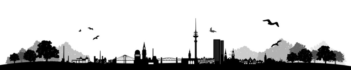 Wall Mural - Hamburg Skyline Landschaft