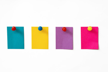 Colorful sticky notes on white background