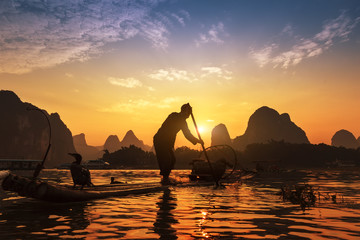 Boat with cormorants birds, traditional fishing in China use tra