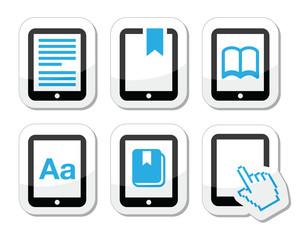 E-book reader, e-reader vector icons set