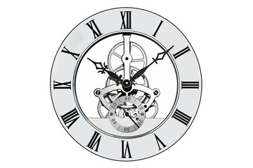 Skeleton clock isolated on white with clipping path.
