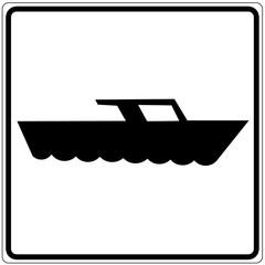 Papier Peint - Schild weiß - Motorboot