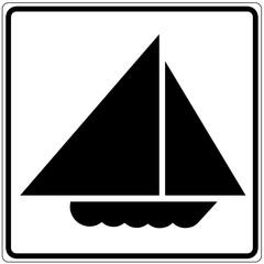 Fototapete - Schild weiß - Segelboot