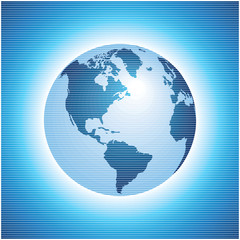 globe icon vector with blue background
