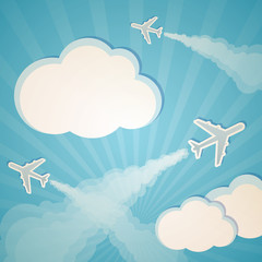 Poster Hemel blue background with planes