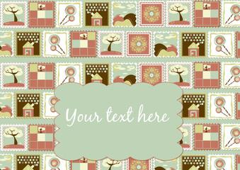 Postcard. Child stamps. illustration