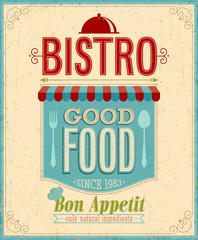 Wall Mural - Vintage Bistro Poster. Vector illustration.