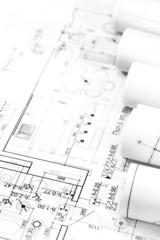 Rolls of blueprints