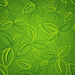 Wall Mural - seamless background with green leaves