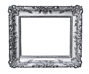 vintage silver frame, isolated on white