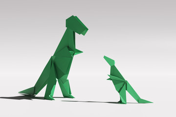 Paper origami Tyrannosaurus Rex family couple - mother and child