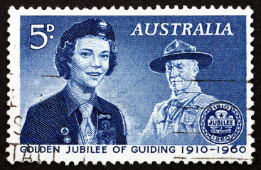 Postage stamp Australia 1960 Girl Guide and Lord Baden-Powell