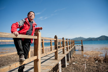 China, the smiling man in the lake
